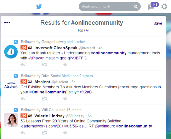 Use Twitter Search to find people talking about topics your community is built around