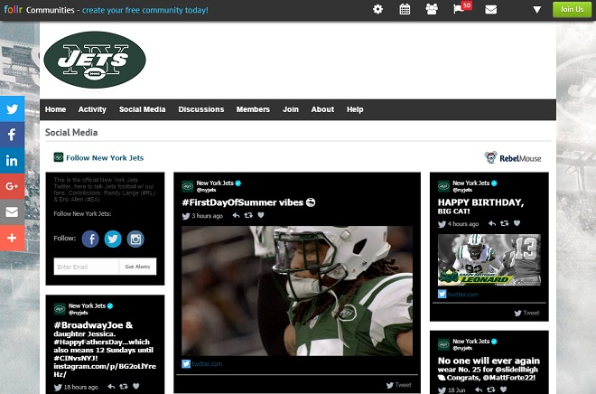 NY Jets Rebel Mouse Follr Integration